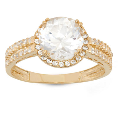 Womens White Sapphire 10K Gold Round Halo Cocktail Ring