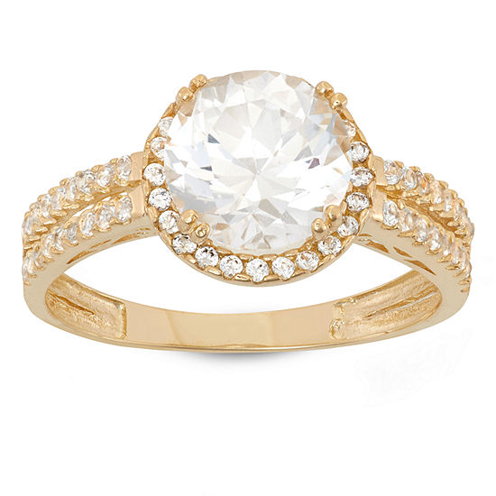 Womens Lab Created White Sapphire 10K Gold Round Halo Engagement Ring