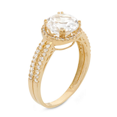 Womens White Sapphire 10K Gold Round Halo Engagement Ring