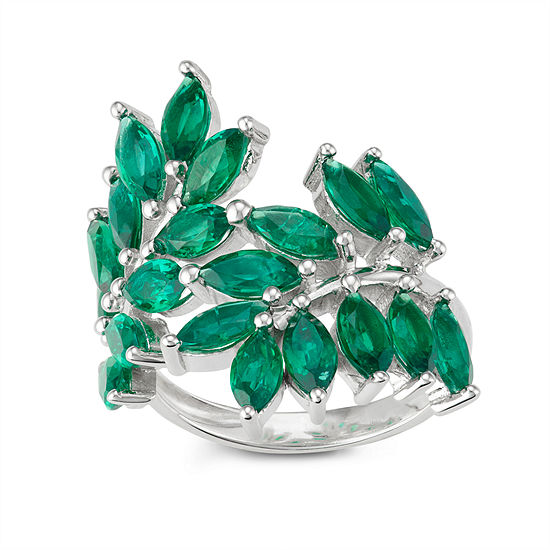 Womens Lab Created Green Emerald Flower Cocktail Ring