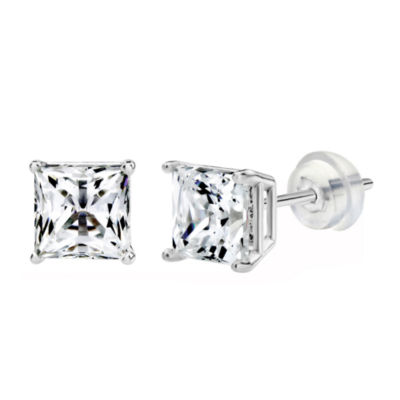 14K White Gold 5.1mm Square Stud Earrings featuring Swarovski Zirconia