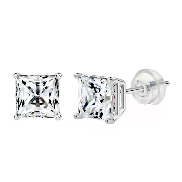 Swarovski 1 CT. T.W. Princess White Zirconia 14K Gold Stud Earrings