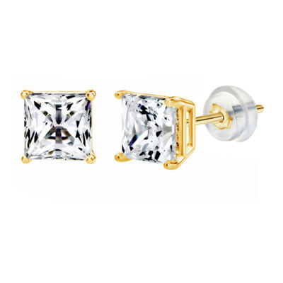 14K Gold 5.1mm Square Stud Earrings featuring Swarovski Zirconia
