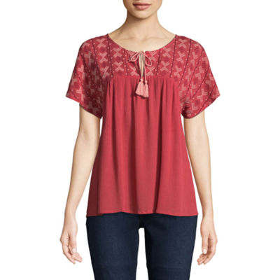 St. John's Bay Embroidered Short Sleeve Cap Sleeve Peasant Top