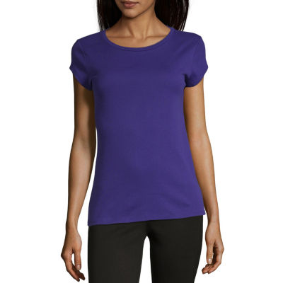 Liz Claiborne Short Sleeve Round Neck Knit Tee - Tall