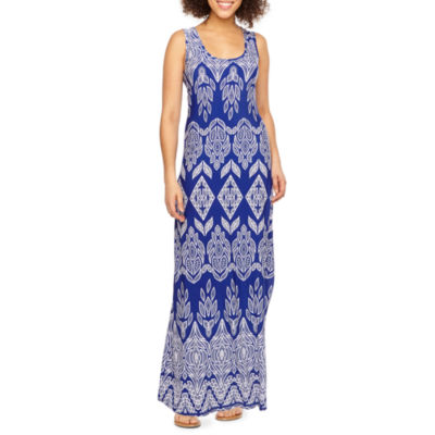 Ronni Nicole Sleeveless Bordered Puff Print Maxi Dress