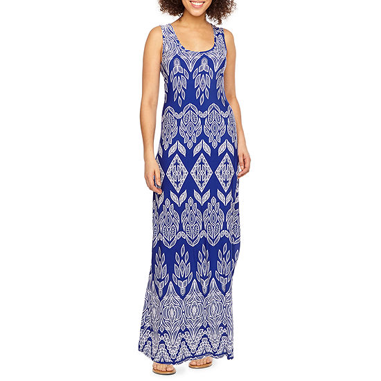 Ronni Nicole Sleeveless Bordered Puff Print Maxi Dress