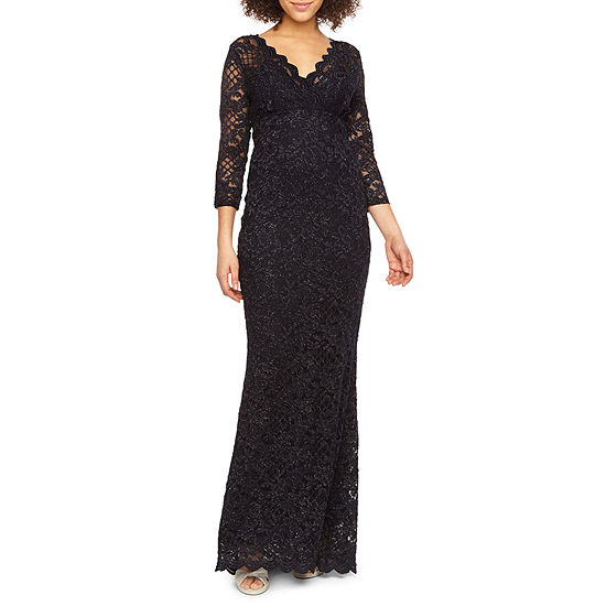 Blu Sage 3/4 Sleeve Lace Evening Gown