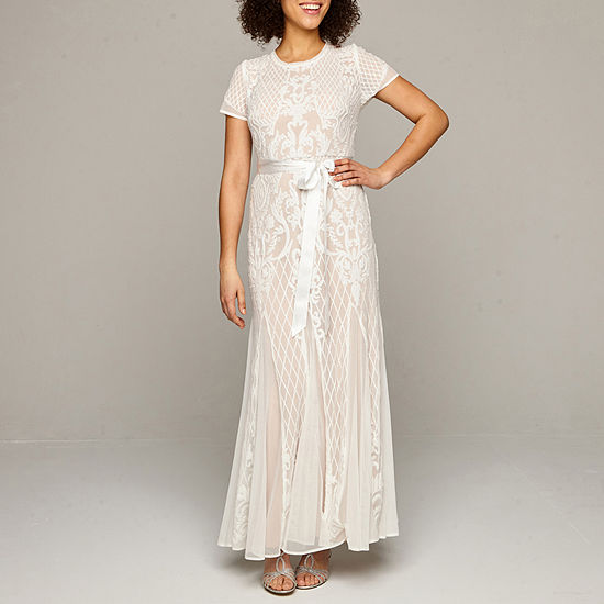 R & M Richards Short Sleeve Sequin Wedding Gown
