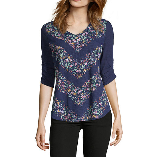 Liz Claiborne V-Neck Rouched Sleeve Tee - Tall