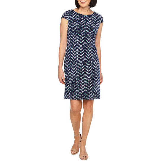 Liz Claiborne Short Sleeve Chevron Sheath Dress Color