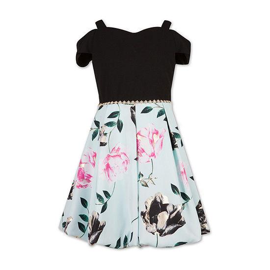 Speechless Girls Embellished Short Sleeve Cold Shoulder Sleeve Floral A-Line Dress - Preschool / Big Kid