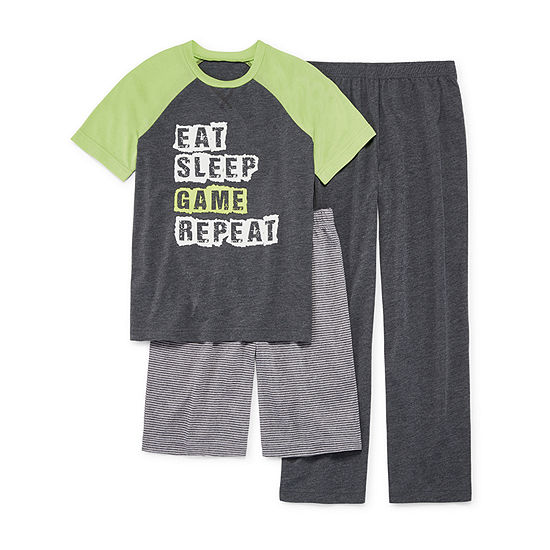 Arizona 3-pc. Pajama Set Big Kid Boys Husky