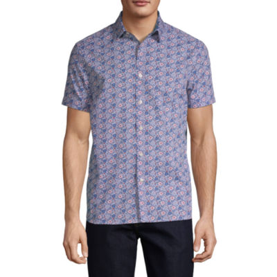 Axist Mens Short Sleeve Floral Button-Front Shirt