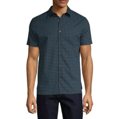 Axist Mens Short Sleeve Floral Button-Front Shirt