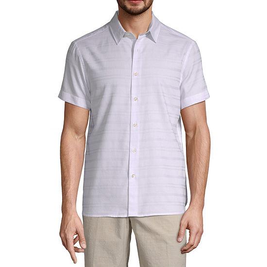 Axist Mens Short Sleeve Striped Button-Front Shirt