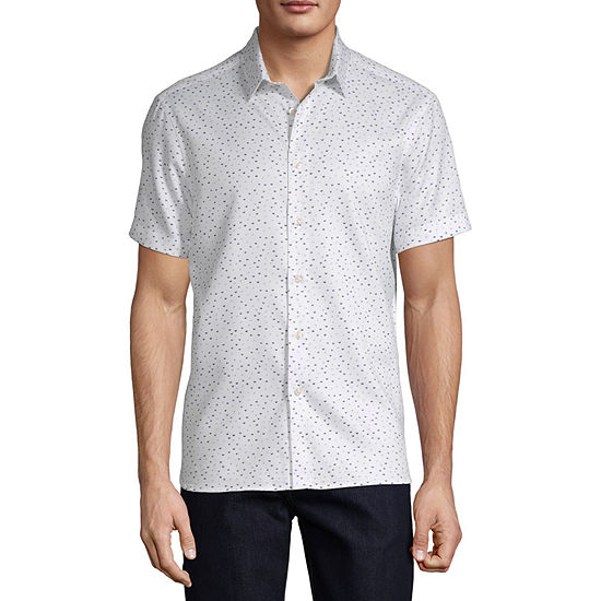 Axist Mens Short Sleeve Striped Button-Front Shirt