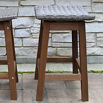 Outdoor Interiors Counter Height Marble Table With Grey Wicker Saddle Stools 3-pc. Patio Bar Set