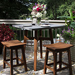 Outdoor Interiors Square Counter Height Composite Top & Eucalyptus Table Patio Bar Set