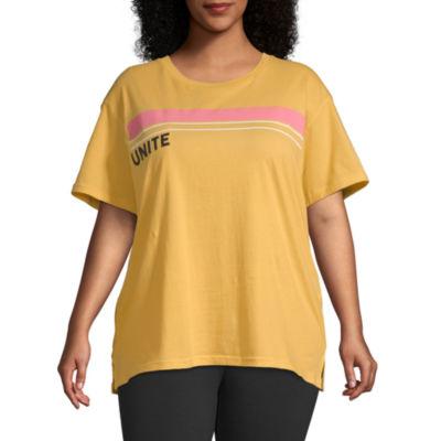 Flirtitude-Womens Crew Neck Short Sleeve T-Shirt Juniors Plus