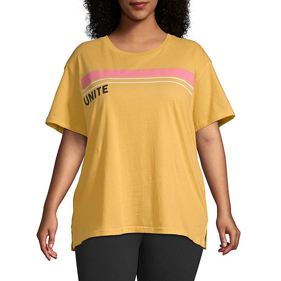 Flirtitude Womens Crew Neck Short Sleeve T Shirt Juniors Plus