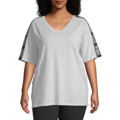 Flirtitude-Womens V Neck Short Sleeve T-Shirt Juniors Plus