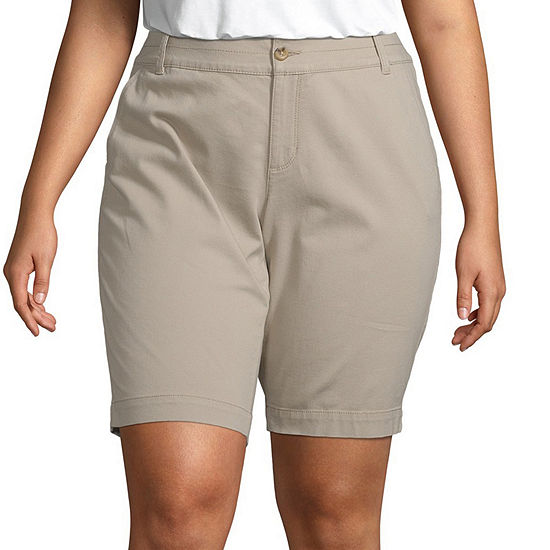 "Arizona Womens Mid Rise 9"" Bermuda Short-Juniors Plus"