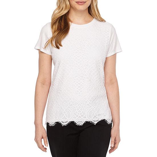 Liz Claiborne-Womens Round Neck Short Sleeve T-Shirt Petite