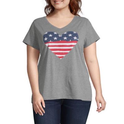 St. John's Bay Short Sleeve Americana V-Neck Tee - Plus
