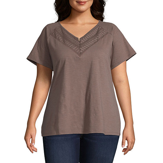 St. John's Bay Womens Y Neck Short Sleeve Henley Shirt-Plus
