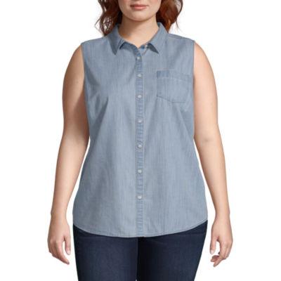 St. John's Bay Sleeveless Shirt - Plus