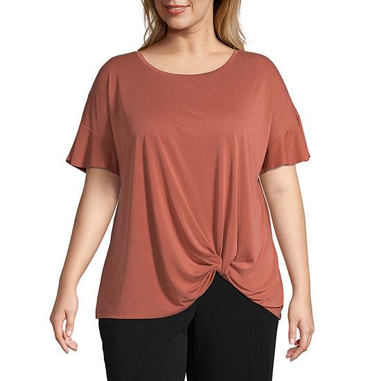 Worthington Womens Crew Neck Short Sleeve T Shirt Plus