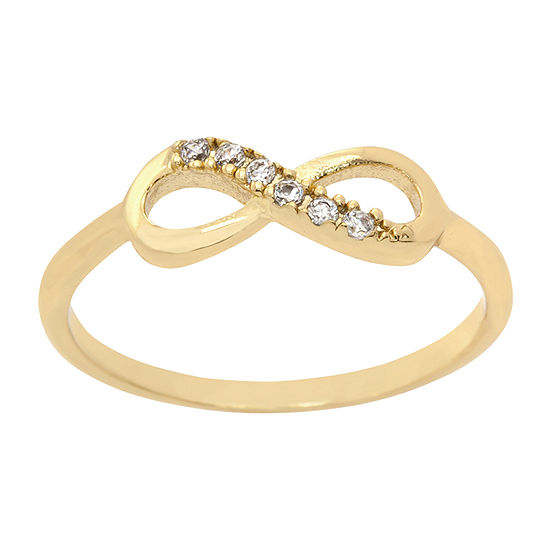 Sparkle Allure Pave Infinity Band Womens Cubic Zirconia 14k Gold Over Brass Infinity Cocktail Ring