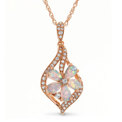 Womens Lab Created Multi Color Opal 14K Rose Gold Over Silver Pendant Necklace