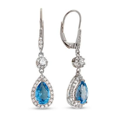 Genuine Blue Topaz Drop Earrings