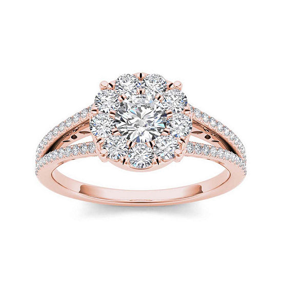 1 CT. T.W. Diamond Cluster 10K Rose Gold Engagement Ring