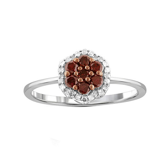 1/2 CT. T.W. White & Color-Enhanced Red Diamond Cluster Sterling Silver Ring