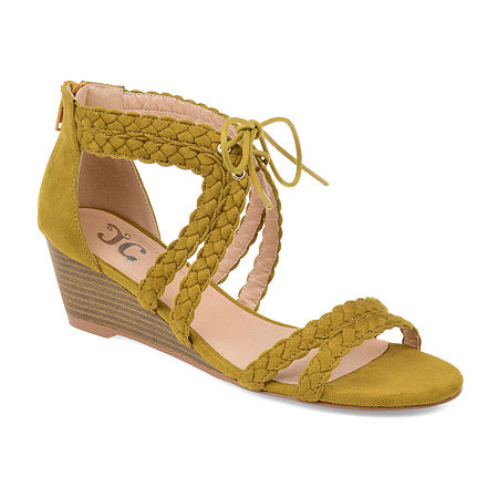 Journee Collection Womens Aubree Pumps Zip Open Toe Wedge Heel, 12 Medium, Gray