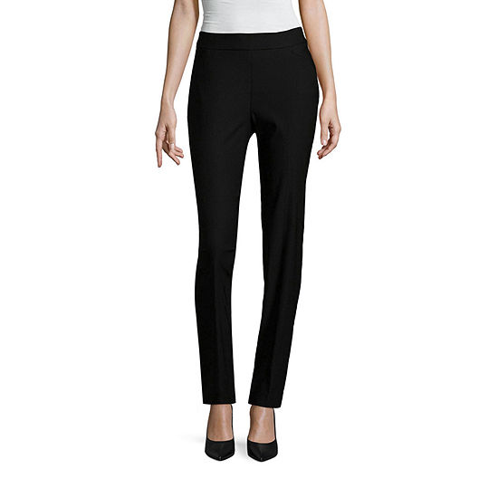 Worthington Womens Mid Rise Slim Pull-On Pants