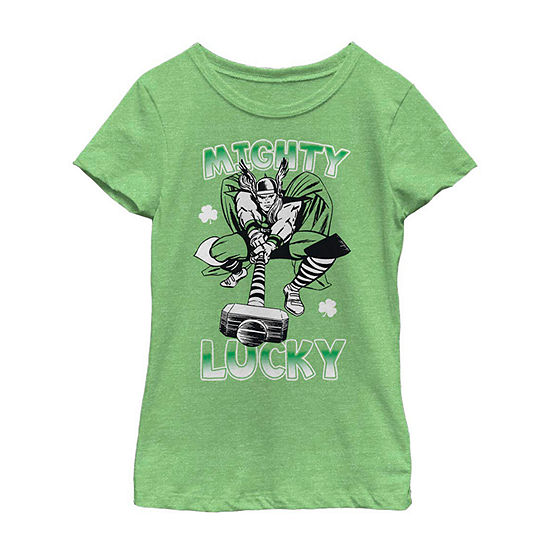 St. Patty's Thor Mighty Lucky Girls Short Sleeve Marvel T-Shirt Little Kid / Big Kid