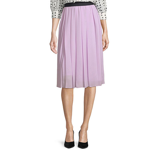 Worthington Womens Pleated High Rise Midi Skirt