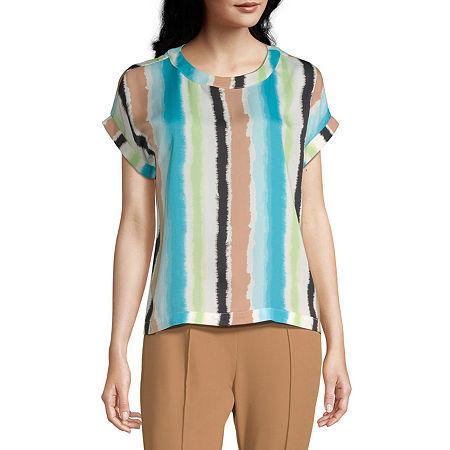Worthington Womens Round Neck Short Sleeve Blouse, Small , Blue