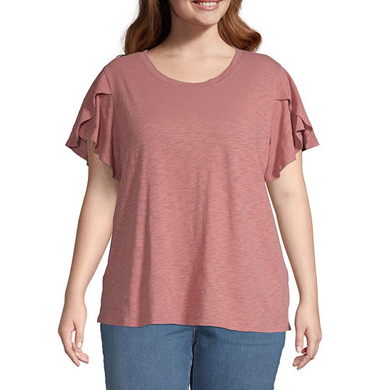 a.n.a-Plus Womens Round Neck Short Sleeve T-Shirt