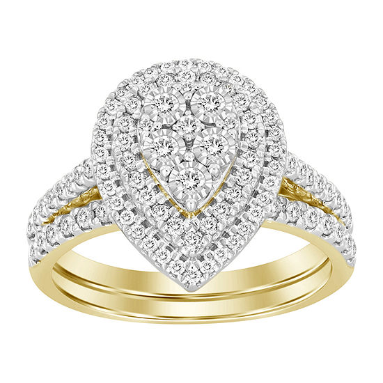 Womens 3/4 CT. T.W. Genuine White Diamond 10K Gold Pear Bridal Set