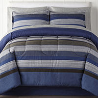 Deals on Home Expressions Harlan Stripes Complete Bedding Set 6Pc Twin