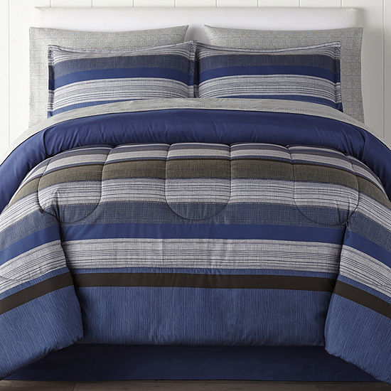 Home Expressions Harlan Stripes Complete Bedding Set with Sheets
