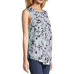 Liz Claiborne Studio Womens V Neck Sleeveless Henley Shirt