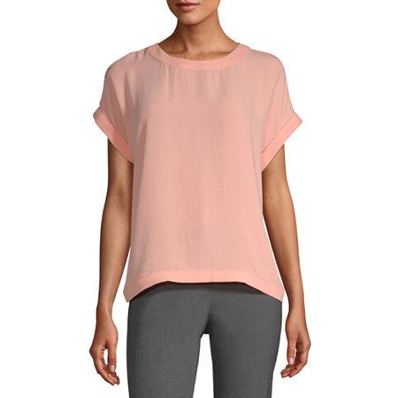 Worthington Womens Round Neck Short Sleeve Blouse, Small , Orange