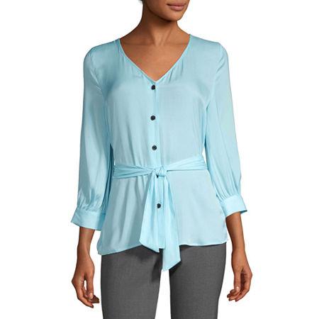 Worthington Womens V Neck 3/4 Sleeve Blouse, X-small , Blue