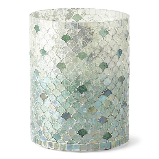 Elements 8in Turquoise Fade Mosaic Glass Candle Holder